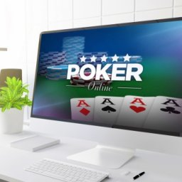 online poker on a desktop computer