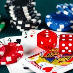 poker playing cards, chips and dices