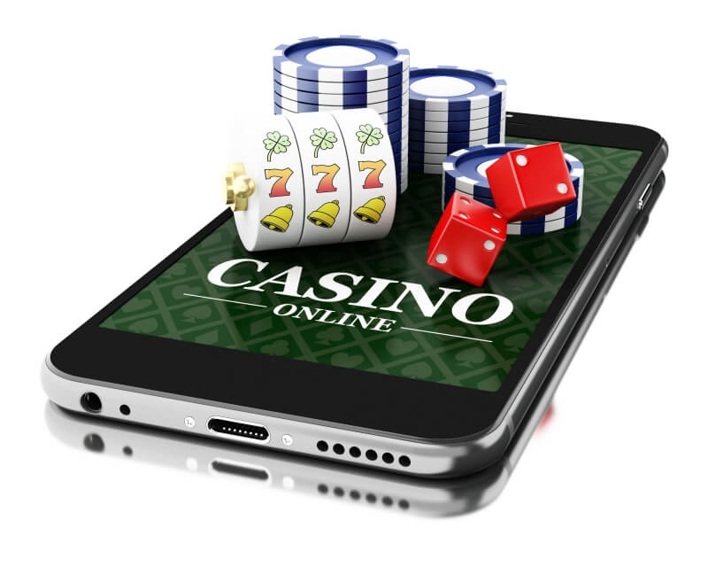 online casino software slots chips and dices on smartphone