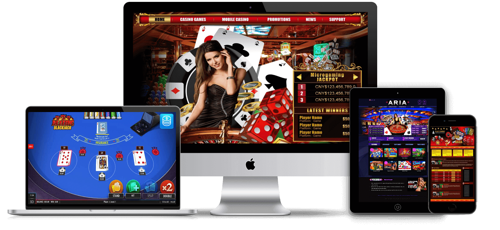 Apple gadgets with online casino websites and online casino games on a screen