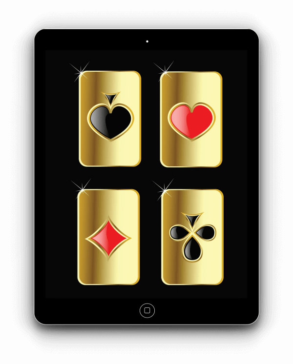 mobile online poker software icons on a tablet